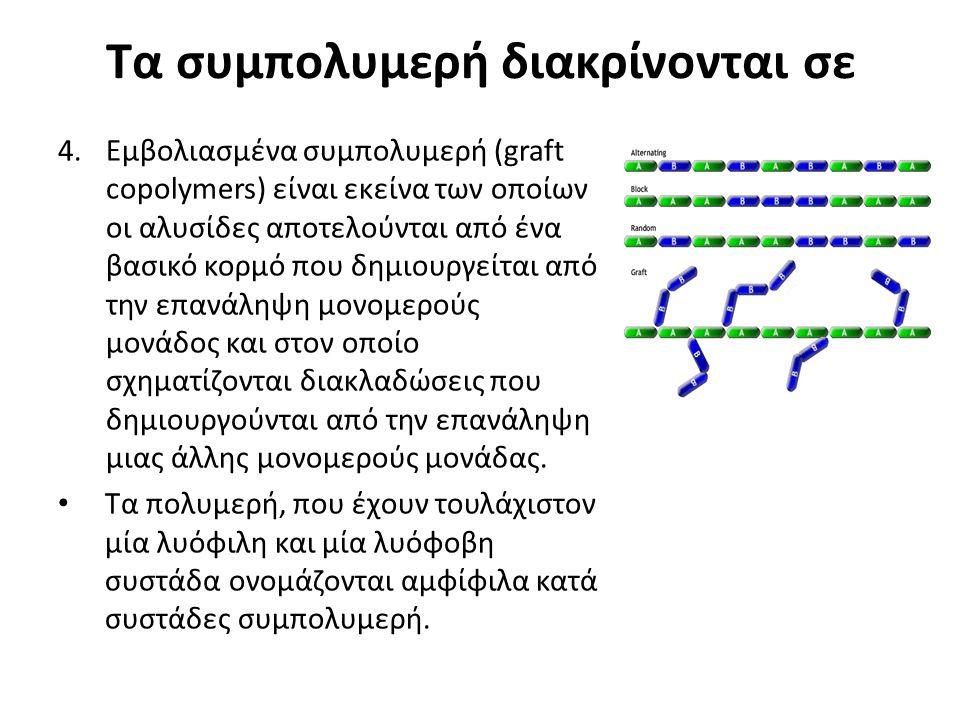 Τα συμπολυμερή διακρίνονται σε 4.Εμβολιασμένα συμπολυμερή (graft copolymers) είναι εκείνα των οποίων οι αλυσίδες αποτελούνται από ένα βασικό κορμό που δημιουργείται από την επανάληψη μονομερούς μονάδος και στον οποίο σχηματίζονται διακλαδώσεις που δημιουργούνται από την επανάληψη μιας άλλης μονομερούς μονάδας.