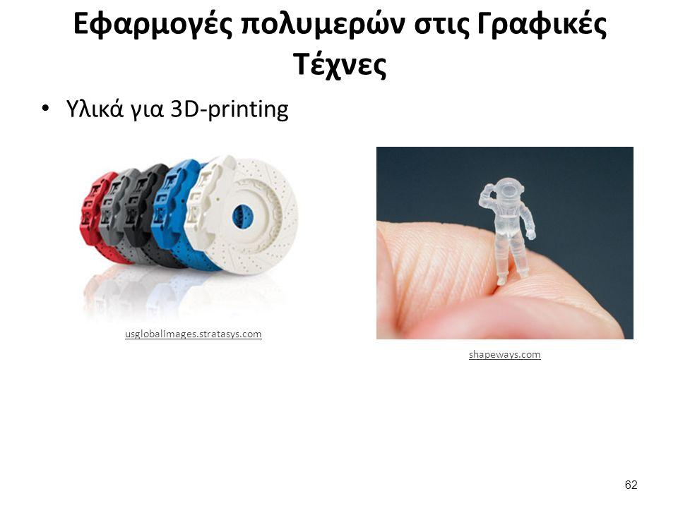 Εφαρμογές πολυμερών στις Γραφικές Τέχνες Υλικά για 3D-printing 62 usglobalimages.stratasys.com shapeways.com