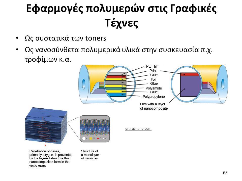 Εφαρμογές πολυμερών στις Γραφικές Τέχνες 63 Ως συστατικά των toners Ως νανοσύνθετα πολυμερικά υλικά στην συσκευασία π.χ.