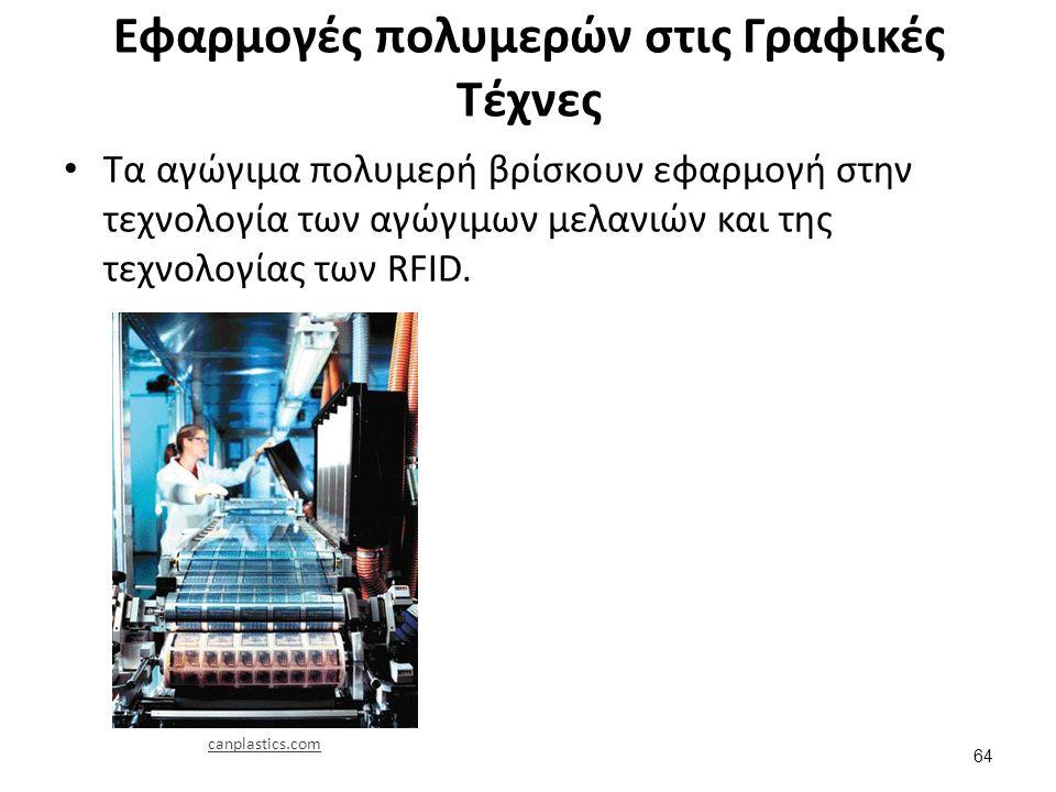 Εφαρμογές πολυμερών στις Γραφικές Τέχνες Τα αγώγιμα πολυμερή βρίσκουν εφαρμογή στην τεχνολογία των αγώγιμων μελανιών και της τεχνολογίας των RFID.