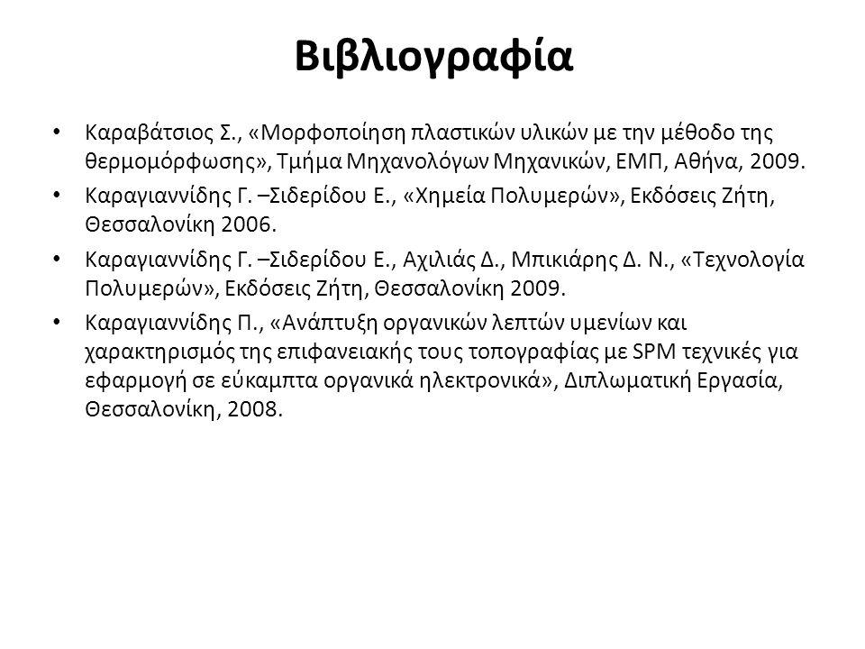 Βιβλιογραφία Καραβάτσιος Σ., «Μορφοποίηση πλαστικών υλικών με την μέθοδο της θερμομόρφωσης», Τμήμα Μηχανολόγων Μηχανικών, ΕΜΠ, Αθήνα, 2009.