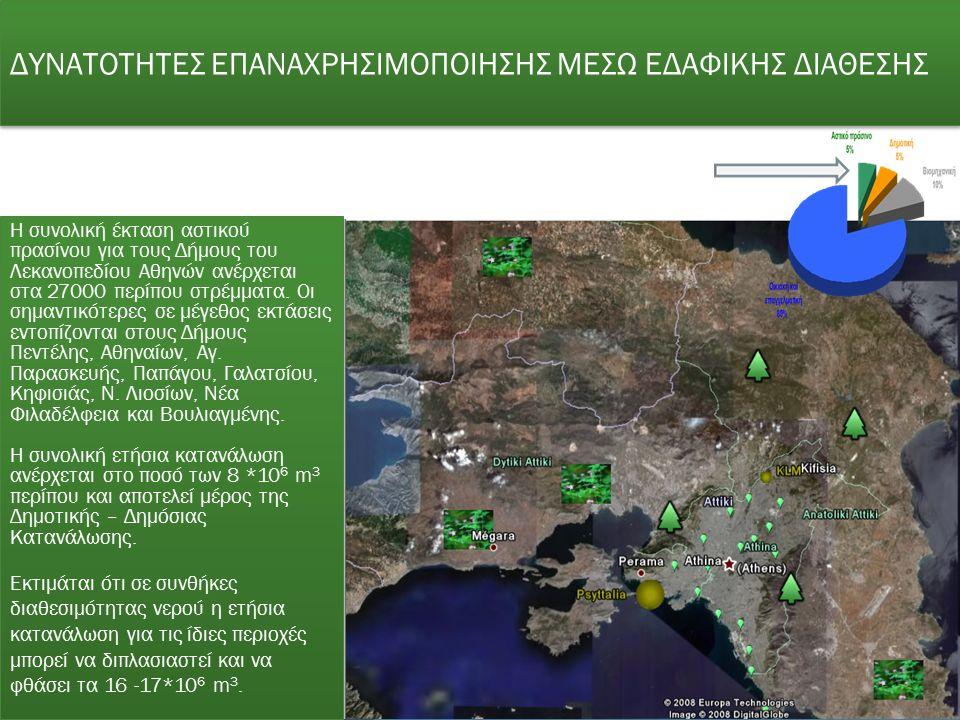 ΔΥΝΑΤΟΤΗΤΕΣ ΕΠΑΝΑΧΡΗΣΙΜΟΠΟΙΗΣΗΣ ΜΕΣΩ ΕΔΑΦΙΚΗΣ ΔΙΑΘΕΣΗΣ Η συνολική έκταση αστικού πρασίνου για τους Δήμους του Λεκανοπεδίου Αθηνών ανέρχεται στα 27000 περίπου στρέμματα.