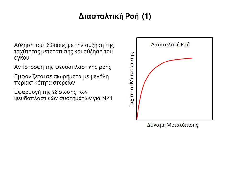 Διασταλτική Ροή (1) Αύξηση του ιξώδους με την αύξηση της ταχύτητας μετατόπισης και αύξηση του όγκου Αντίστροφη της ψευδοπλαστικής ροής Εμφανίζεται σε αιωρήματα με μεγάλη περιεκτικότητα στερεών Εφαρμογή της εξίσωσης των ψευδοπλαστικών συστημάτων για Ν<1