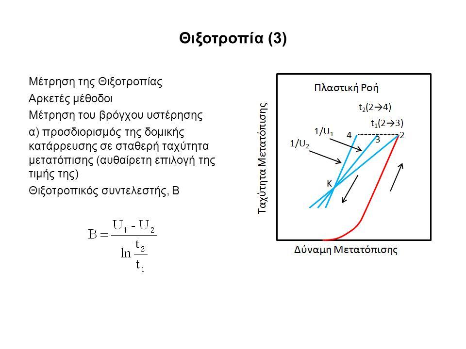 Θιξοτροπία (3) Μέτρηση της Θιξοτροπίας Αρκετές μέθοδοι Μέτρηση του βρόγχου υστέρησης α) προσδιορισμός της δομικής κατάρρευσης σε σταθερή ταχύτητα μετατόπισης (αυθαίρετη επιλογή της τιμής της) Θιξοτροπικός συντελεστής, Β