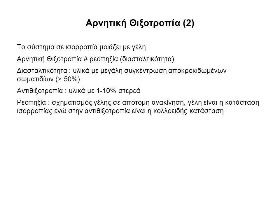 Αρνητική Θιξοτροπία (2) Το σύστημα σε ισορροπία μοιάζει με γέλη Αρνητική Θιξοτροπία # ρεοπηξία (διασταλτικότητα) Διασταλτικότητα : υλικά με μεγάλη συγκέντρωση αποκροκιδωμένων σωματιδίων (> 50%) Αντιθιξοτροπία : υλικά με 1-10% στερεά Ρεοπηξία : σχηματισμός γέλης σε απότομη ανακίνηση, γέλη είναι η κατάσταση ισορροπίας ενώ στην αντιθιξοτροπία είναι η κολλοειδής κατάσταση