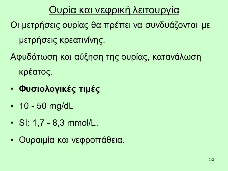 33 Ουρία και νεφρική λειτουργία Οι μετρήσεις ουρίας θα πρέπει να συνδυάζονται με μετρήσεις κρεατινίνης. Αφυδάτωση και αύξηση της ουρίας, κατανάλωση κρ