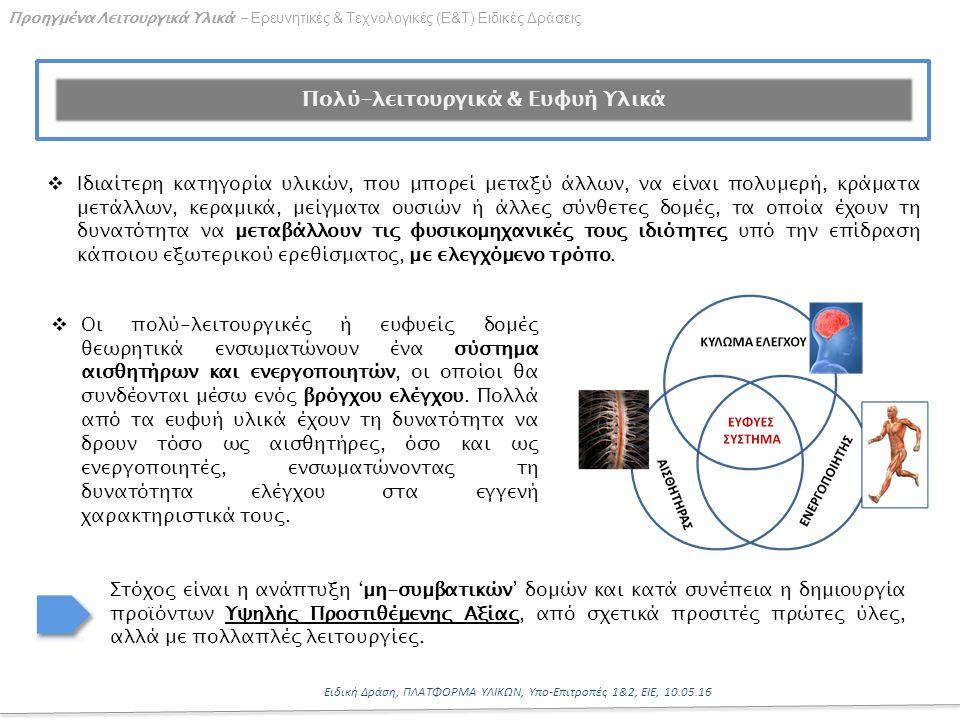 16 Ειδική Δράση, ΠΛΑΤΦΟΡΜΑ ΥΛΙΚΩΝ, Υπο-Επιτροπές 1&2, ΕΙΕ, 10.05.16 Προηγμένα Λειτουργικά Υλικά - Ερευνητικές & Τεχνολογικές (Ε&Τ) Ειδικές Δράσεις Πολύ-λειτουργικά & Ευφυή Υλικά  Ιδιαίτερη κατηγορία υλικών, που μπορεί μεταξύ άλλων, να είναι πολυμερή, κράματα μετάλλων, κεραμικά, μείγματα ουσιών ή άλλες σύνθετες δομές, τα οποία έχουν τη δυνατότητα να μεταβάλλουν τις φυσικομηχανικές τους ιδιότητες υπό την επίδραση κάποιου εξωτερικού ερεθίσματος, με ελεγχόμενο τρόπο.