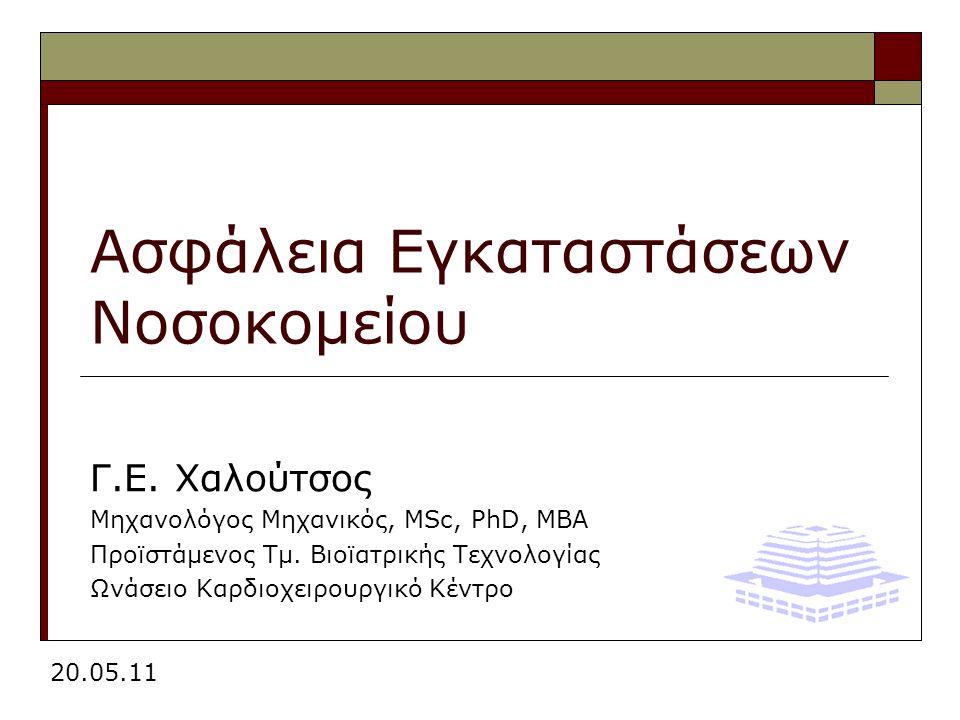 Γ.Ε. Χαλούτσος Μηχανολόγος Μηχανικός, MSc, PhD, MBA Προϊστάμενος Τμ.