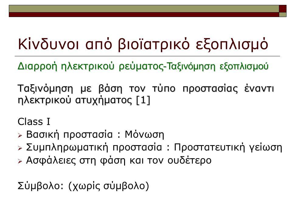 Κίνδυνοι από βιοϊατρικό εξοπλισμό Ταξινόμηση με βάση τον τύπο προστασίας έναντι ηλεκτρικού ατυχήματος [1] Class I  Βασική προστασία : Μόνωση  Συμπληρωματική προστασία : Προστατευτική γείωση  Ασφάλειες στη φάση και τον ουδέτερο Σύμβολο: (χωρίς σύμβολο) Διαρροή ηλεκτρικού ρεύματος -Ταξινόμηση εξοπλισμού
