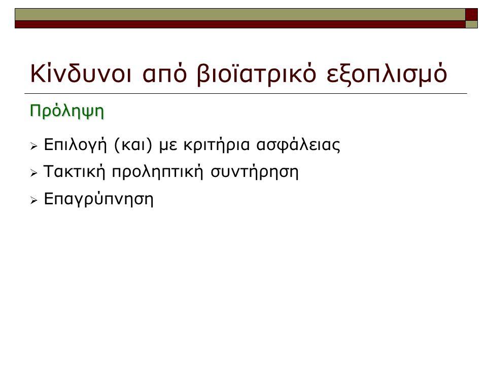 Κίνδυνοι από βιοϊατρικό εξοπλισμό Πρόληψη  Επιλογή (και) με κριτήρια ασφάλειας  Τακτική προληπτική συντήρηση  Επαγρύπνηση