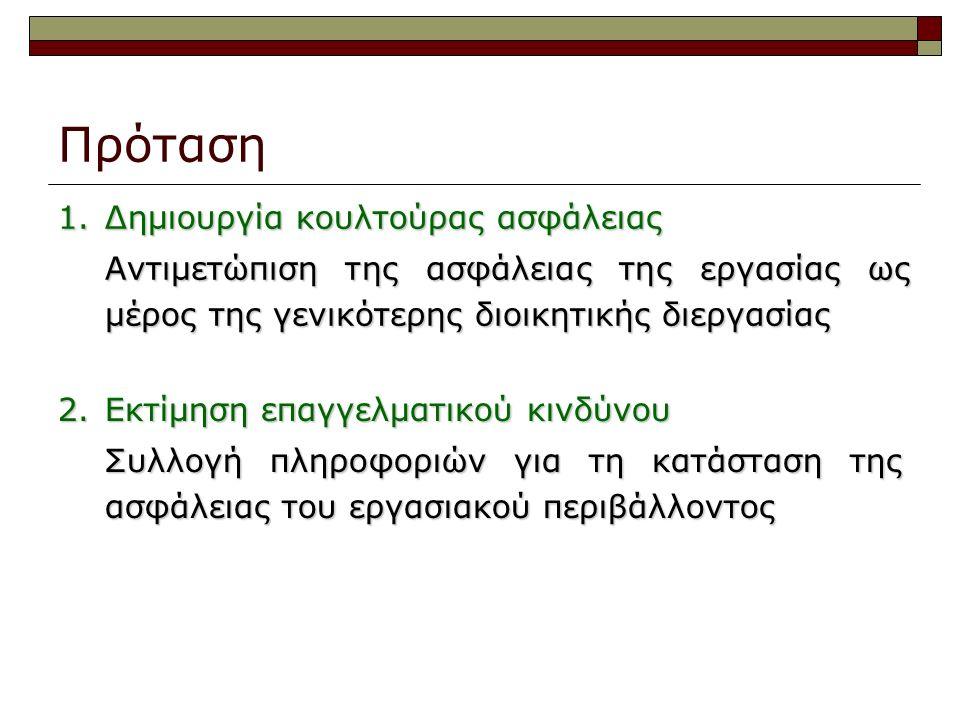 Πρόταση 1. Δημιουργία κουλτούρας ασφάλειας Αντιμετώπιση της ασφάλειας της εργασίας ως μέρος της γενικότερης διοικητικής διεργασίας 2. Εκτίμηση επαγγελ