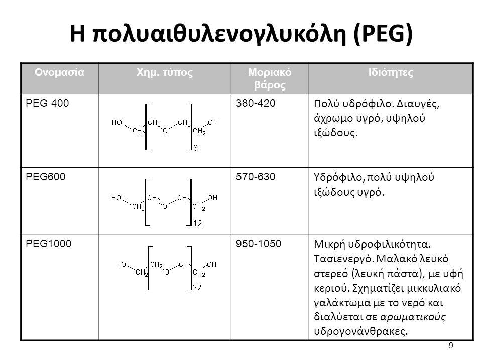 Η πολυαιθυλενογλυκόλη (PEG) ΟνομασίαΧημ. τύποςΜοριακό βάρος Ιδιότητες PEG 400380-420 Πολύ υδρόφιλο. Διαυγές, άχρωμο υγρό, υψηλού ιξώδους. PEG600570-63