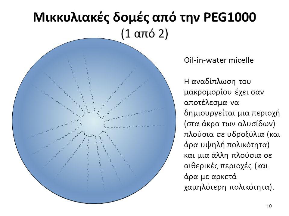 Μικκυλιακές δομές από την PEG1000 (1 από 2) Oil-in-water micelle Η αναδίπλωση του μακρομορίου έχει σαν αποτέλεσμα να δημιουργείται μια περιοχή (στα άκρα των αλυσίδων) πλούσια σε υδροξύλια (και άρα υψηλή πολικότητα) και μια άλλη πλούσια σε αιθερικές περιοχές (και άρα με αρκετά χαμηλότερη πολικότητα).