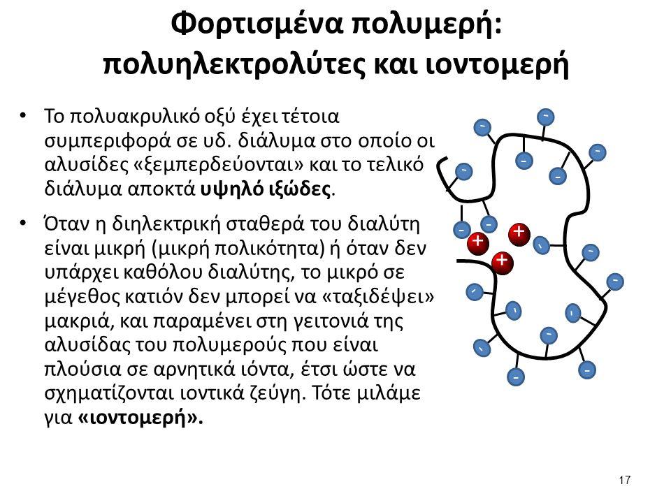 Φορτισμένα πολυμερή: πολυηλεκτρολύτες και ιοντομερή Το πολυακρυλικό οξύ έχει τέτοια συμπεριφορά σε υδ. διάλυμα στο οποίο οι αλυσίδες «ξεμπερδεύονται»