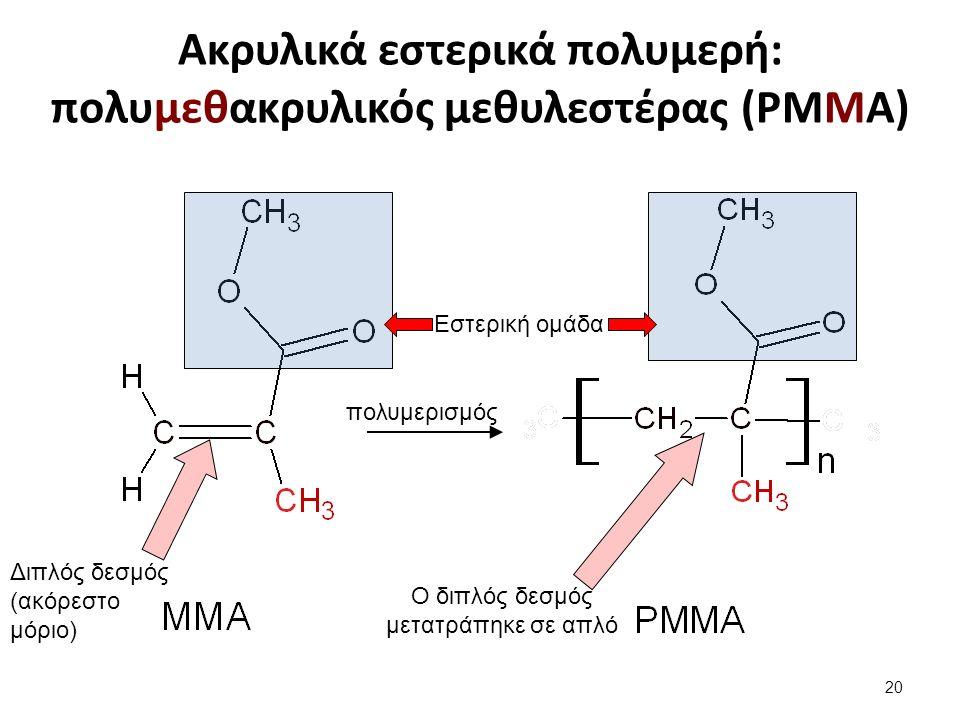 Ακρυλικά εστερικά πολυμερή: πολυμεθακρυλικός μεθυλεστέρας (PMMA) Διπλός δεσμός (ακόρεστο μόριο) Ο διπλός δεσμός μετατράπηκε σε απλό πολυμερισμός Εστερική ομάδα 20