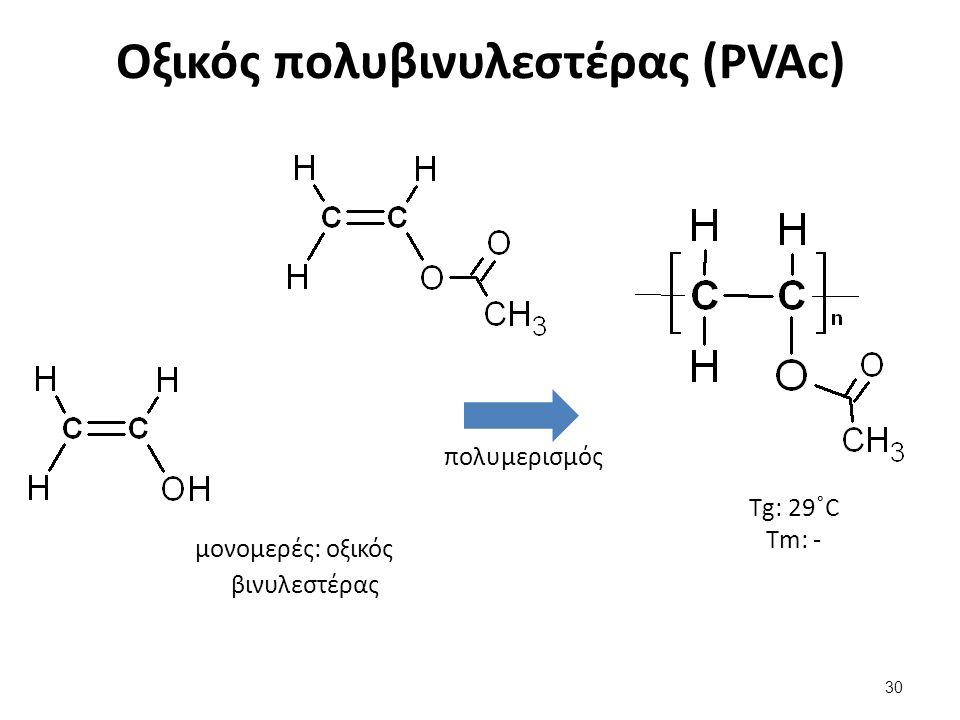 Οξικός πολυβινυλεστέρας (PVAc) 30 μονομερές: οξικός βινυλεστέρας πολυμερισμός Τg: 29˚C Τm: -