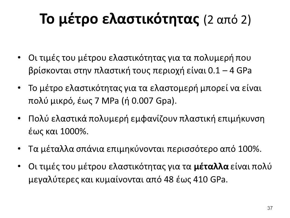 Το μέτρο ελαστικότητας (2 από 2) Οι τιμές του μέτρου ελαστικότητας για τα πολυμερή που βρίσκονται στην πλαστική τους περιοχή είναι 0.1 – 4 GPa Το μέτρ