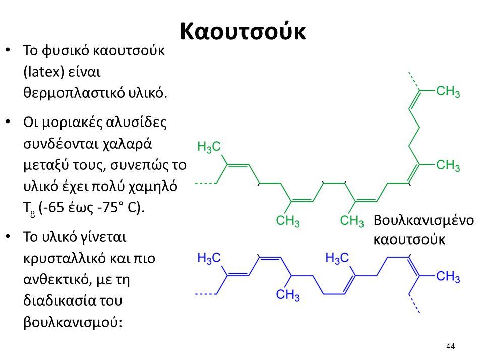Καουτσούκ Το φυσικό καουτσούκ (latex) είναι θερμοπλαστικό υλικό. Οι μοριακές αλυσίδες συνδέονται χαλαρά μεταξύ τους, συνεπώς το υλικό έχει πολύ χαμηλό