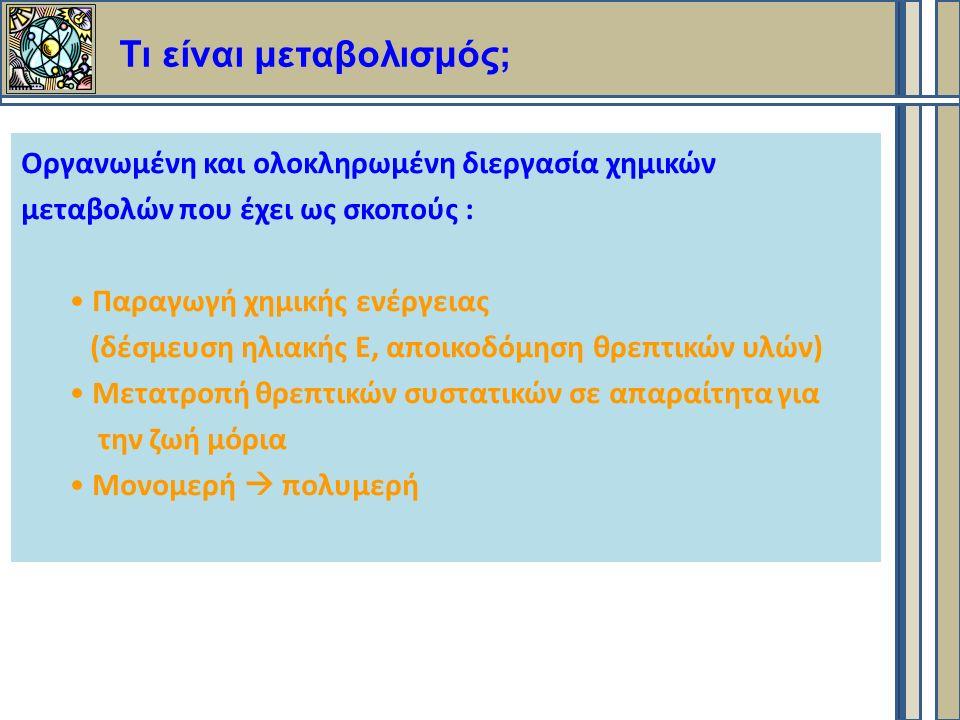 Οργανωμένη και ολοκληρωμένη διεργασία χημικών μεταβολών που έχει ως σκοπούς : Παραγωγή χημικής ενέργειας (δέσμευση ηλιακής Ε, αποικοδόμηση θρεπτικών υλών) Μετατροπή θρεπτικών συστατικών σε απαραίτητα για την ζωή μόρια Μονομερή  πολυμερή Τι είναι μεταβολισμός;