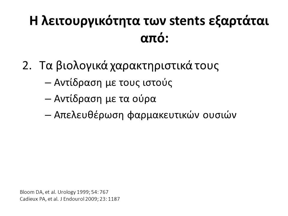 Η λειτουργικότητα των stents εξαρτάται από: 2.Τα βιολογικά χαρακτηριστικά τους – Αντίδραση με τους ιστούς – Αντίδραση με τα ούρα – Απελευθέρωση φαρμακευτικών ουσιών Bloom DA, et al.