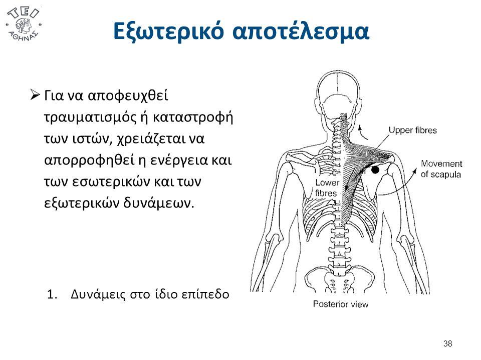1.Δυνάμεις στο ίδιο επίπεδο  Για να αποφευχθεί τραυματισμός ή καταστροφή των ιστών, χρειάζεται να απορροφηθεί η ενέργεια και των εσωτερικών και των εξωτερικών δυνάμεων.
