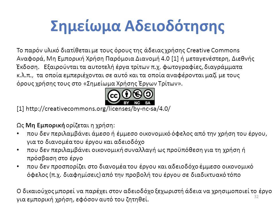 Σημείωμα Αδειοδότησης 32 Το παρόν υλικό διατίθεται με τους όρους της άδειας χρήσης Creative Commons Αναφορά, Μη Εμπορική Χρήση Παρόμοια Διανομή 4.0 [1] ή μεταγενέστερη, Διεθνής Έκδοση.
