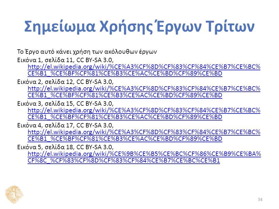 Σημείωμα Χρήσης Έργων Τρίτων Το Έργο αυτό κάνει χρήση των ακόλουθων έργων Εικόνα 1, σελίδα 11, CC BY-SA 3.0, http://el.wikipedia.org/wiki/%CE%A3%CF%8D%CF%83%CF%84%CE%B7%CE%BC% CE%B1_%CE%BF%CF%81%CE%B3%CE%AC%CE%BD%CF%89%CE%BD http://el.wikipedia.org/wiki/%CE%A3%CF%8D%CF%83%CF%84%CE%B7%CE%BC% CE%B1_%CE%BF%CF%81%CE%B3%CE%AC%CE%BD%CF%89%CE%BD Εικόνα 2, σελίδα 12, CC BY-SA 3.0, http://el.wikipedia.org/wiki/%CE%A3%CF%8D%CF%83%CF%84%CE%B7%CE%BC% CE%B1_%CE%BF%CF%81%CE%B3%CE%AC%CE%BD%CF%89%CE%BD http://el.wikipedia.org/wiki/%CE%A3%CF%8D%CF%83%CF%84%CE%B7%CE%BC% CE%B1_%CE%BF%CF%81%CE%B3%CE%AC%CE%BD%CF%89%CE%BD Εικόνα 3, σελίδα 15, CC BY-SA 3.0, http://el.wikipedia.org/wiki/%CE%A3%CF%8D%CF%83%CF%84%CE%B7%CE%BC% CE%B1_%CE%BF%CF%81%CE%B3%CE%AC%CE%BD%CF%89%CE%BD http://el.wikipedia.org/wiki/%CE%A3%CF%8D%CF%83%CF%84%CE%B7%CE%BC% CE%B1_%CE%BF%CF%81%CE%B3%CE%AC%CE%BD%CF%89%CE%BD Εικόνα 4, σελίδα 17, CC BY-SA 3.0, http://el.wikipedia.org/wiki/%CE%A3%CF%8D%CF%83%CF%84%CE%B7%CE%BC% CE%B1_%CE%BF%CF%81%CE%B3%CE%AC%CE%BD%CF%89%CE%BD http://el.wikipedia.org/wiki/%CE%A3%CF%8D%CF%83%CF%84%CE%B7%CE%BC% CE%B1_%CE%BF%CF%81%CE%B3%CE%AC%CE%BD%CF%89%CE%BD Εικόνα 5, σελίδα 18, CC BY-SA 3.0, http://el.wikipedia.org/wiki/%CE%9B%CE%B5%CE%BC%CF%86%CE%B9%CE%BA% CF%8C_%CF%83%CF%8D%CF%83%CF%84%CE%B7%CE%BC%CE%B1 http://el.wikipedia.org/wiki/%CE%9B%CE%B5%CE%BC%CF%86%CE%B9%CE%BA% CF%8C_%CF%83%CF%8D%CF%83%CF%84%CE%B7%CE%BC%CE%B1 34
