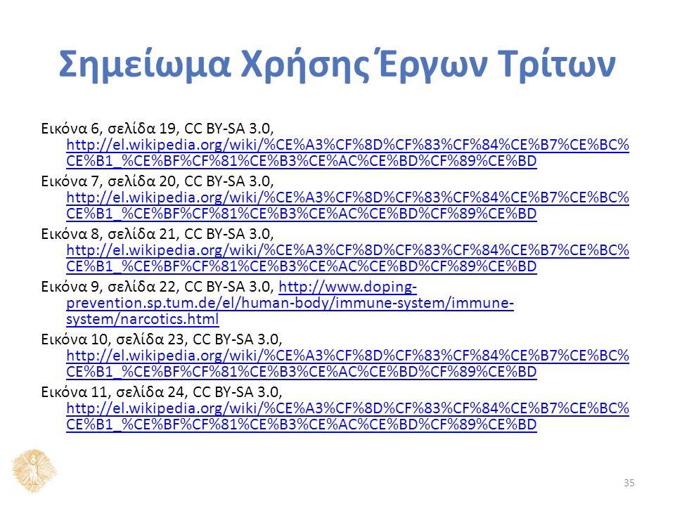 Σημείωμα Χρήσης Έργων Τρίτων Εικόνα 6, σελίδα 19, CC BY-SA 3.0, http://el.wikipedia.org/wiki/%CE%A3%CF%8D%CF%83%CF%84%CE%B7%CE%BC% CE%B1_%CE%BF%CF%81%CE%B3%CE%AC%CE%BD%CF%89%CE%BD http://el.wikipedia.org/wiki/%CE%A3%CF%8D%CF%83%CF%84%CE%B7%CE%BC% CE%B1_%CE%BF%CF%81%CE%B3%CE%AC%CE%BD%CF%89%CE%BD Εικόνα 7, σελίδα 20, CC BY-SA 3.0, http://el.wikipedia.org/wiki/%CE%A3%CF%8D%CF%83%CF%84%CE%B7%CE%BC% CE%B1_%CE%BF%CF%81%CE%B3%CE%AC%CE%BD%CF%89%CE%BD http://el.wikipedia.org/wiki/%CE%A3%CF%8D%CF%83%CF%84%CE%B7%CE%BC% CE%B1_%CE%BF%CF%81%CE%B3%CE%AC%CE%BD%CF%89%CE%BD Εικόνα 8, σελίδα 21, CC BY-SA 3.0, http://el.wikipedia.org/wiki/%CE%A3%CF%8D%CF%83%CF%84%CE%B7%CE%BC% CE%B1_%CE%BF%CF%81%CE%B3%CE%AC%CE%BD%CF%89%CE%BD http://el.wikipedia.org/wiki/%CE%A3%CF%8D%CF%83%CF%84%CE%B7%CE%BC% CE%B1_%CE%BF%CF%81%CE%B3%CE%AC%CE%BD%CF%89%CE%BD Εικόνα 9, σελίδα 22, CC BY-SA 3.0, http://www.doping- prevention.sp.tum.de/el/human-body/immune-system/immune- system/narcotics.htmlhttp://www.doping- prevention.sp.tum.de/el/human-body/immune-system/immune- system/narcotics.html Εικόνα 10, σελίδα 23, CC BY-SA 3.0, http://el.wikipedia.org/wiki/%CE%A3%CF%8D%CF%83%CF%84%CE%B7%CE%BC% CE%B1_%CE%BF%CF%81%CE%B3%CE%AC%CE%BD%CF%89%CE%BD http://el.wikipedia.org/wiki/%CE%A3%CF%8D%CF%83%CF%84%CE%B7%CE%BC% CE%B1_%CE%BF%CF%81%CE%B3%CE%AC%CE%BD%CF%89%CE%BD Εικόνα 11, σελίδα 24, CC BY-SA 3.0, http://el.wikipedia.org/wiki/%CE%A3%CF%8D%CF%83%CF%84%CE%B7%CE%BC% CE%B1_%CE%BF%CF%81%CE%B3%CE%AC%CE%BD%CF%89%CE%BD http://el.wikipedia.org/wiki/%CE%A3%CF%8D%CF%83%CF%84%CE%B7%CE%BC% CE%B1_%CE%BF%CF%81%CE%B3%CE%AC%CE%BD%CF%89%CE%BD 35