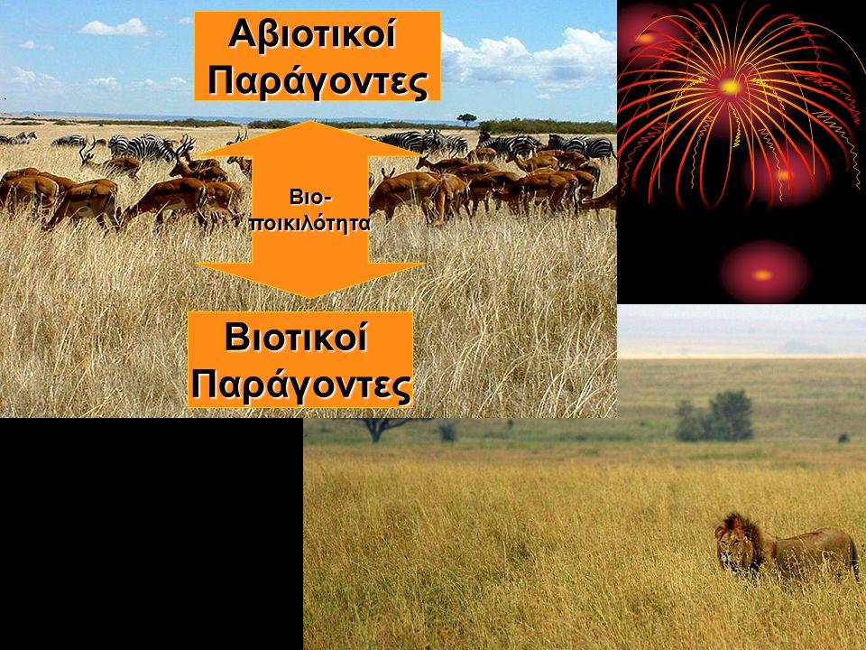 Πληθυσμοί Βιότοποι ≠ Οικοσύστημα (περιοχή) Χερσαίο Υδάτινο Βιοκοινότητες