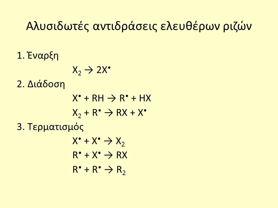 Αλυσιδωτές αντιδράσεις ελευθέρων ριζών 1. Έναρξη Χ 2 → 2Χ 2.