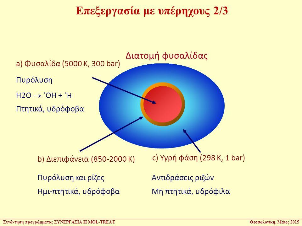 Επεξεργασία με υπέρηχους 2/3 a) Φυσαλίδα (5000 K, 300 bar) b) Διεπιφάνεια (850-2000 K) Αντιδράσεις ριζών Μη πτητικά, υδρόφιλα Πυρόλυση H2O . OH +. H