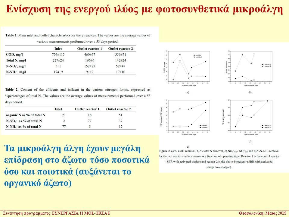 Ενίσχυση της ενεργού ιλύος με φωτοσυνθετικά μικροάλγη Τα μικροάλγη άλγη έχουν μεγάλη επίδραση στο άζωτο τόσο ποσοτικά όσο και ποιοτικά (αυξάνεται το οργανικό άζωτο) Συνάντηση προγράμματος ΣΥΝΕΡΓΑΣΙΑ ΙΙ MOL-TREATΘεσσαλονίκη, Μάιος 2015