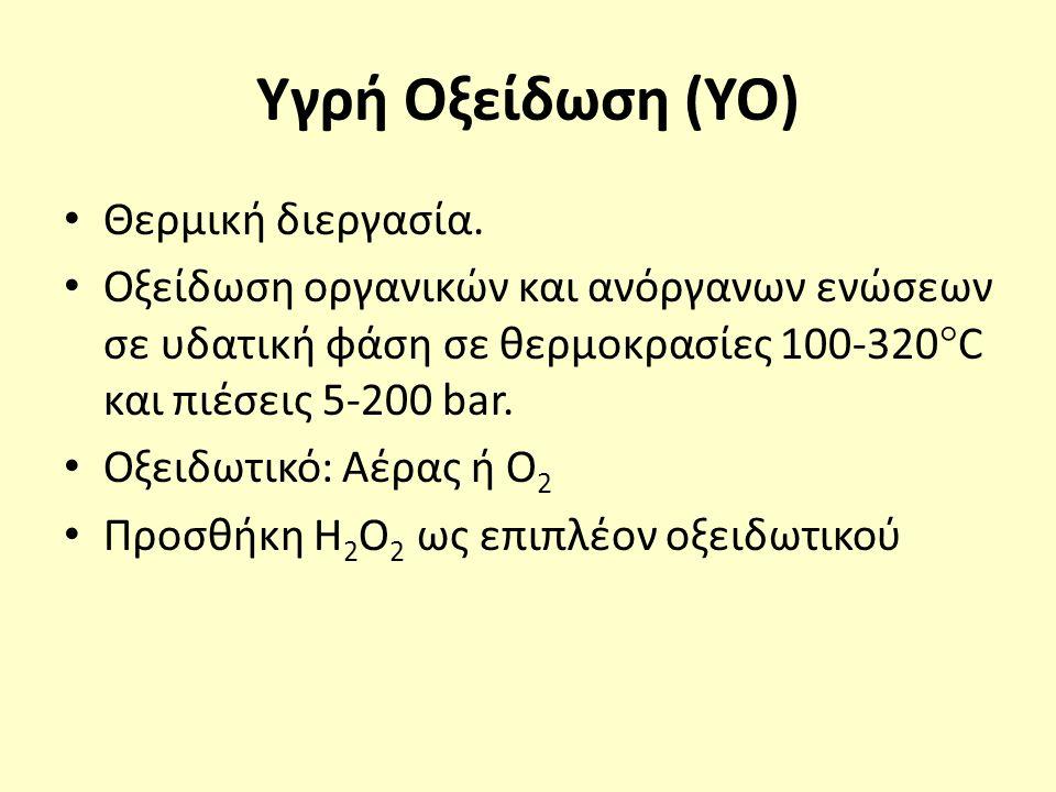 Υγρή Οξείδωση (YO) Θερμική διεργασία. Οξείδωση οργανικών και ανόργανων ενώσεων σε υδατική φάση σε θερμοκρασίες 100-320  C και πιέσεις 5-200 bar. Οξει