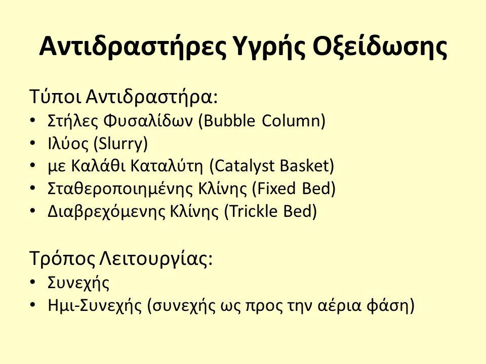 Αντιδραστήρες Υγρής Οξείδωσης Τύποι Αντιδραστήρα: Στήλες Φυσαλίδων (Bubble Column) Ιλύος (Slurry) με Καλάθι Καταλύτη (Catalyst Basket) Σταθεροποιημένης Κλίνης (Fixed Bed) Διαβρεχόμενης Κλίνης (Trickle Bed) Τρόπος Λειτουργίας: Συνεχής Ημι-Συνεχής (συνεχής ως προς την αέρια φάση)
