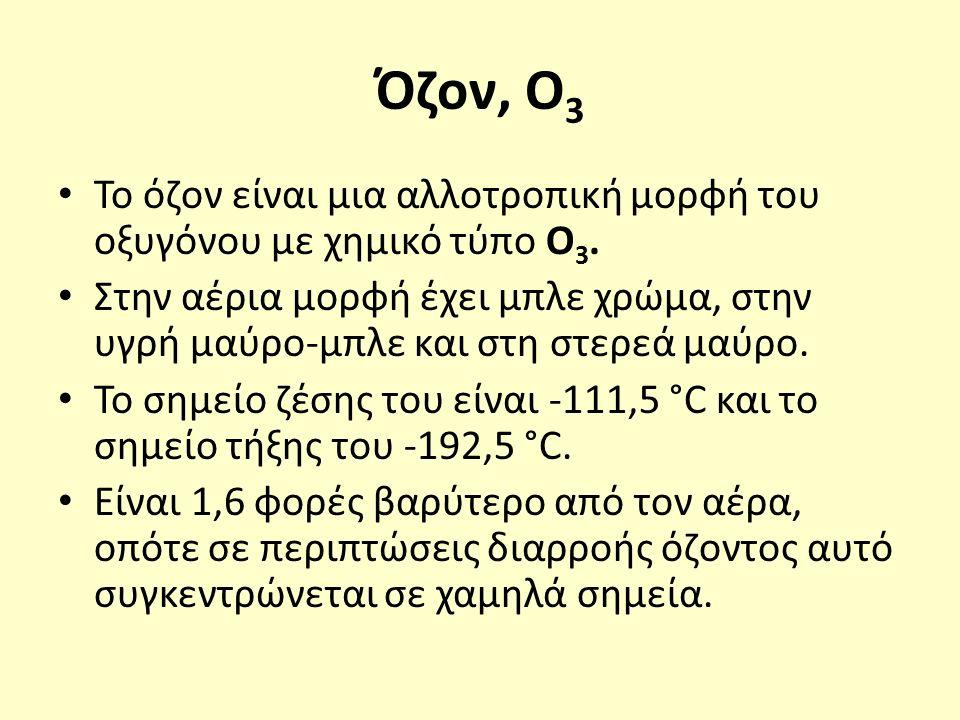 Όζον, Ο 3 Το όζον είναι μια αλλοτροπική μορφή του οξυγόνου με χημικό τύπο Ο 3.
