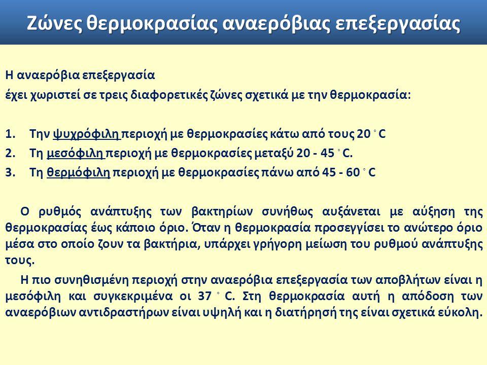 Ζώνες θερμοκρασίας αναερόβιας επεξεργασίας Η αναερόβια επεξεργασία έχει χωριστεί σε τρεις διαφορετικές ζώνες σχετικά με την θερμοκρασία: 1.Την ψυχρόφιλη περιοχή με θερμοκρασίες κάτω από τους 20 ◦ C 2.Τη μεσόφιλη περιοχή με θερμοκρασίες μεταξύ 20 - 45 ◦ C.