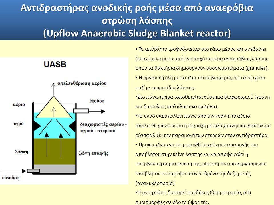 Αντιδραστήρας ανοδικής ροής μέσα από αναερόβια στρώση λάσπης (Upflow Anaerobic Sludge Blanket reactor) Το απόβλητο τροφοδοτείται στο κάτω μέρος και ανεβαίνει διερχόμενο μέσα από ένα παχύ στρώμα αναερόβιας λάσπης, όπου τα βακτήρια δημιουργούν συσσωματώματα (granules).