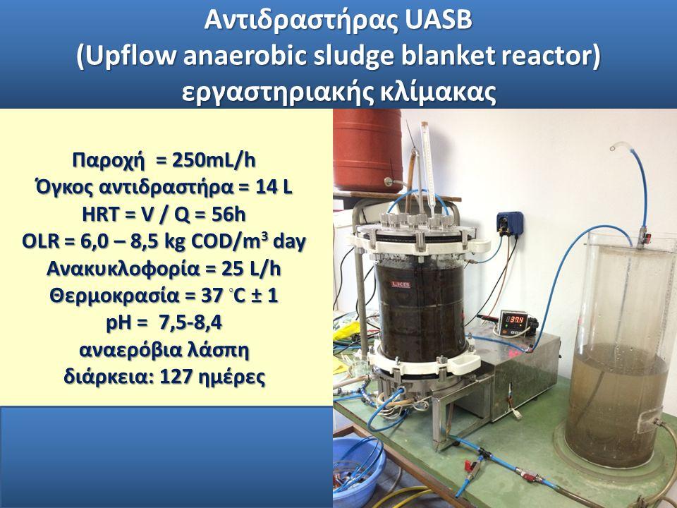 Παροχή = 250mL/h Όγκος αντιδραστήρα = 14 L HRT = V / Q = 56h OLR = 6,0 – 8,5 kg COD/m 3 day Ανακυκλοφορία = 25 L/h Θερμοκρασία = 37 ◦ C ± 1 pH = 7,5-8,4 αναερόβια λάσπη διάρκεια: 127 ημέρες Αντιδραστήρας UASB (Upflow anaerobic sludge blanket reactor) εργαστηριακής κλίμακας