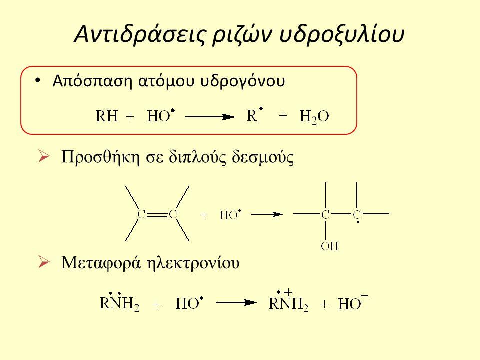 Αντιδράσεις ριζών υδροξυλίου Απόσπαση ατόμου υδρογόνου  Προσθήκη σε διπλούς δεσμούς  Μεταφορά ηλεκτρονίου
