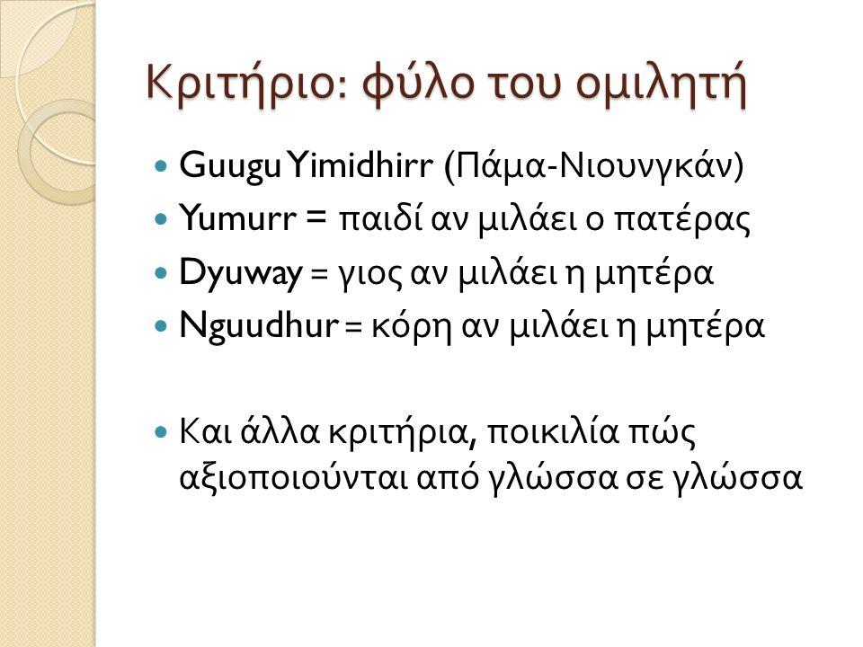 Κριτήριο : φύλο του ομιλητή Guugu Yimidhirr ( Πάμα - Νιουνγκάν ) Yumurr = παιδί αν μιλάει ο πατέρας Dyuway = γιος αν μιλάει η μητέρα Nguudhur = κόρη αν μιλάει η μητέρα Και άλλα κριτήρια, ποικιλία πώς αξιοποιούνται από γλώσσα σε γλώσσα