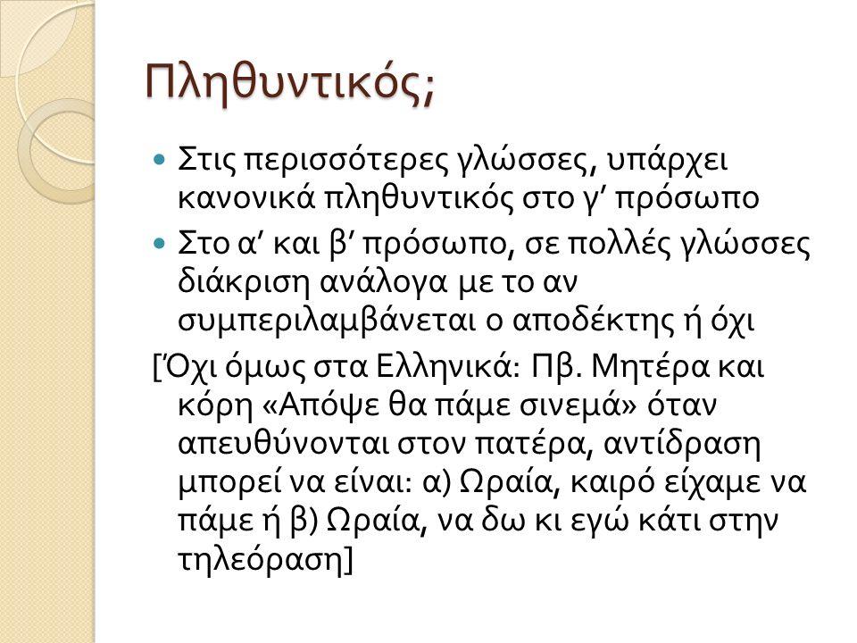 Πληθυντικός ; Στις περισσότερες γλώσσες, υπάρχει κανονικά πληθυντικός στο γ ' πρόσωπο Στο α ' και β ' πρόσωπο, σε πολλές γλώσσες διάκριση ανάλογα με το αν συμπεριλαμβάνεται ο αποδέκτης ή όχι [ Όχι όμως στα Ελληνικά : Πβ.