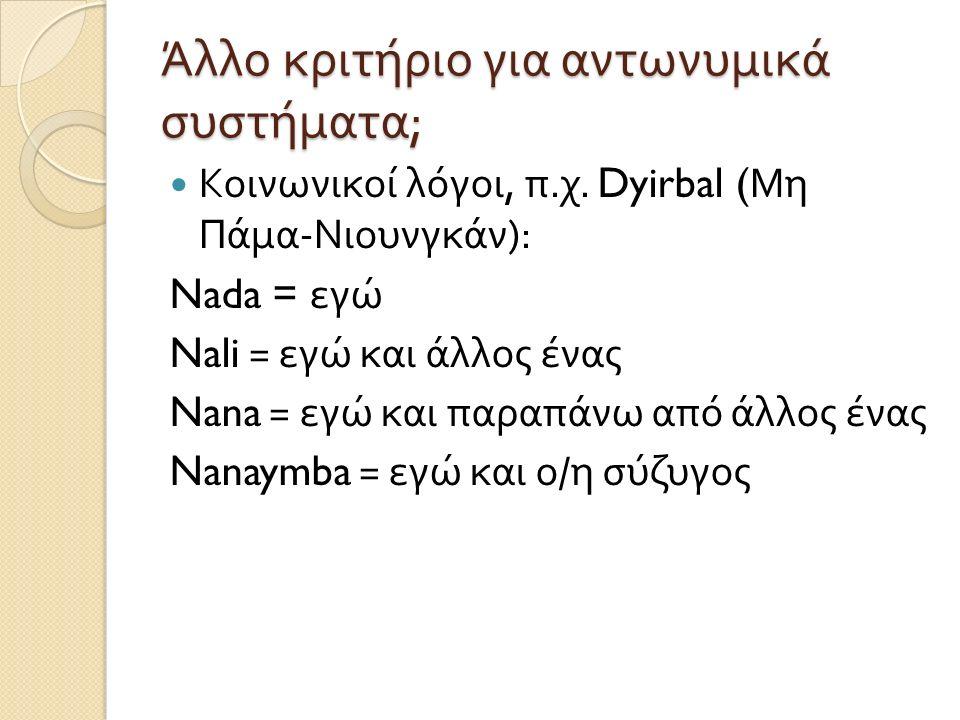 Άλλο κριτήριο για αντωνυμικά συστήματα ; Κοινωνικοί λόγοι, π. χ. Dyirbal ( Μη Πάμα - Νιουνγκάν ): Nada = εγώ Nali = εγώ και άλλος ένας Nana = εγώ και