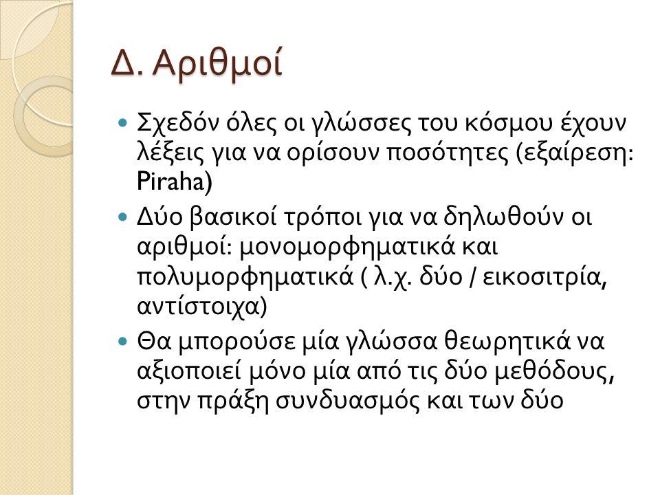 Δ. Αριθμοί Σχεδόν όλες οι γλώσσες του κόσμου έχουν λέξεις για να ορίσουν ποσότητες ( εξαίρεση : Piraha) Δύο βασικοί τρόποι για να δηλωθούν οι αριθμοί