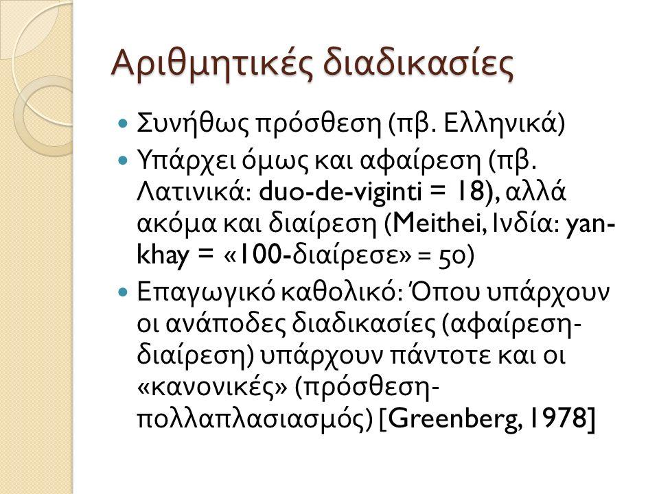 Αριθμητικές διαδικασίες Συνήθως πρόσθεση ( πβ. Ελληνικά ) Υπάρχει όμως και αφαίρεση ( πβ. Λατινικά : duo-de-viginti = 18), αλλά ακόμα και διαίρεση (Me