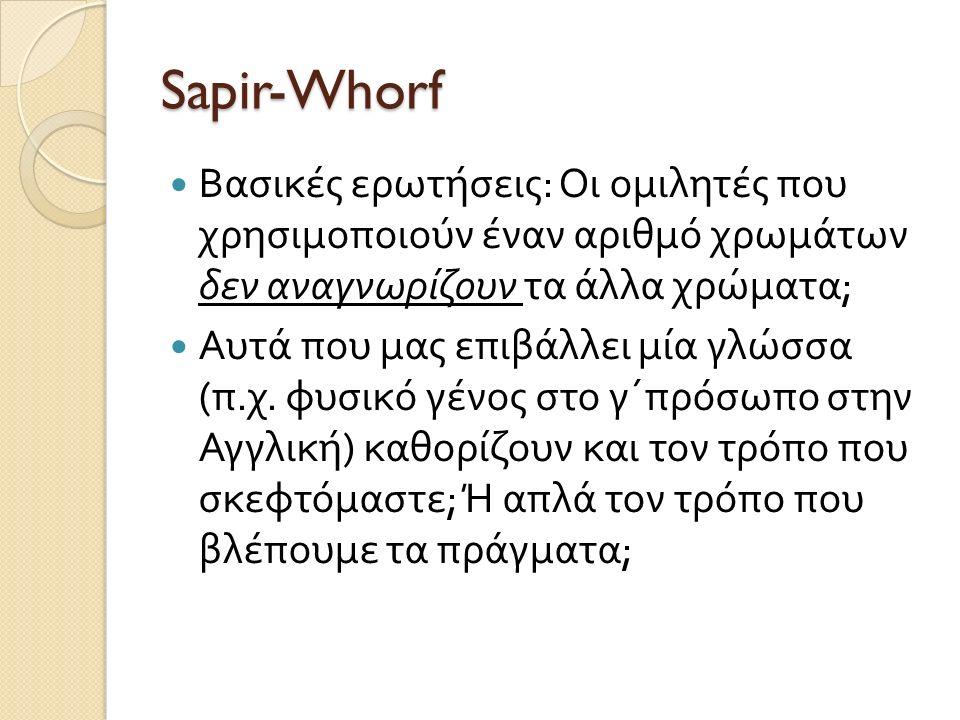 Sapir-Whorf Βασικές ερωτήσεις : Οι ομιλητές που χρησιμοποιούν έναν αριθμό χρωμάτων δεν αναγνωρίζουν τα άλλα χρώματα ; Αυτά που μας επιβάλλει μία γλώσσα ( π.