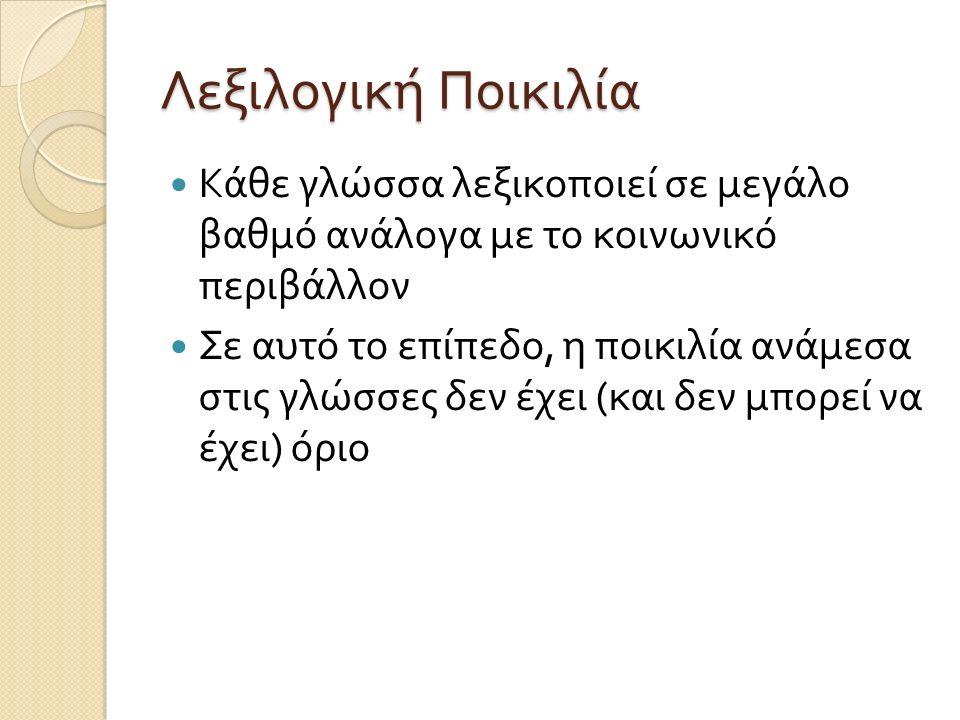 Λεξιλογική Ποικιλία Κάθε γλώσσα λεξικοποιεί σε μεγάλο βαθμό ανάλογα με το κοινωνικό περιβάλλον Σε αυτό το επίπεδο, η ποικιλία ανάμεσα στις γλώσσες δεν