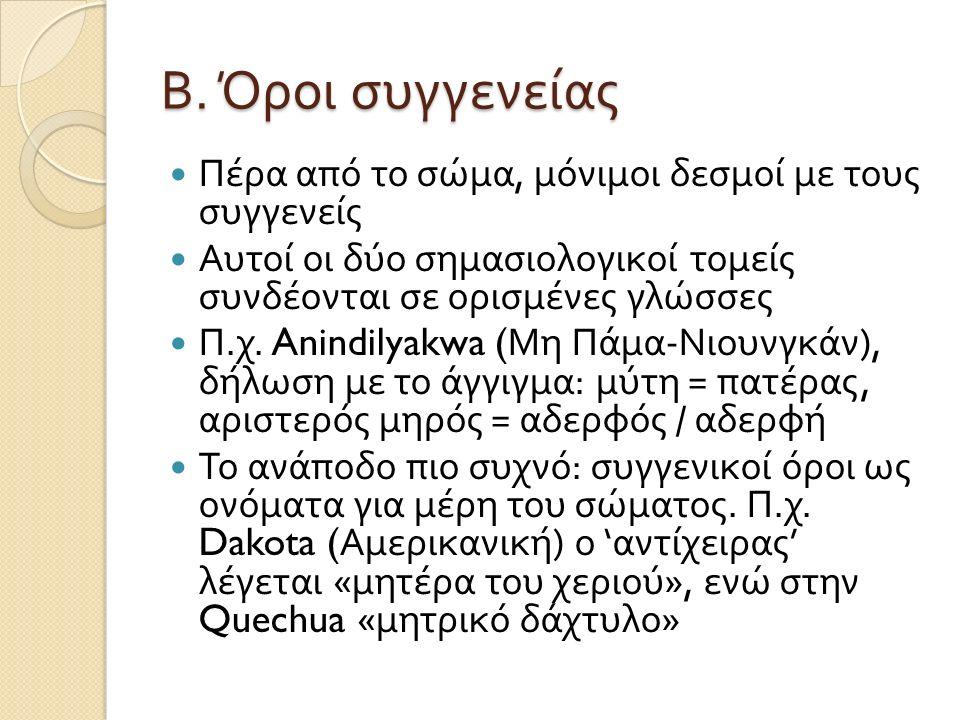 Β. Όροι συγγενείας Πέρα από το σώμα, μόνιμοι δεσμοί με τους συγγενείς Αυτοί οι δύο σημασιολογικοί τομείς συνδέονται σε ορισμένες γλώσσες Π. χ. Anindil