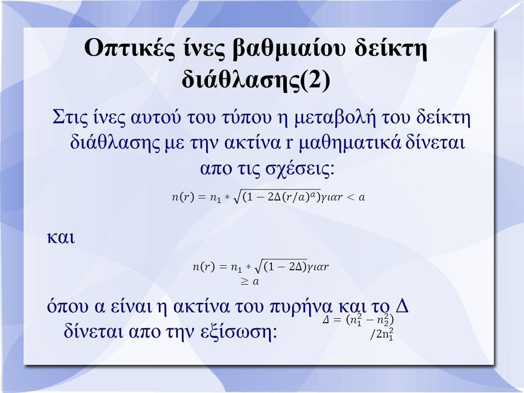 Οπτικές ίνες βαθμιαίου δείκτη διάθλασης(2) Στις ίνες αυτού του τύπου η μεταβολή του δείκτη διάθλασης με την ακτίνα r μαθηματικά δίνεται απο τις σχέσεις: και όπου α είναι η ακτίνα του πυρήνα και το Δ δίνεται απο την εξίσωση: