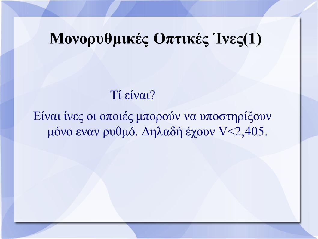 Μονορυθμικές Οπτικές Ίνες(1) Τί είναι? Είναι ίνες οι οποιές μπορούν να υποστηρίξουν μόνο εναν ρυθμό. Δηλαδή έχουν V<2,405.
