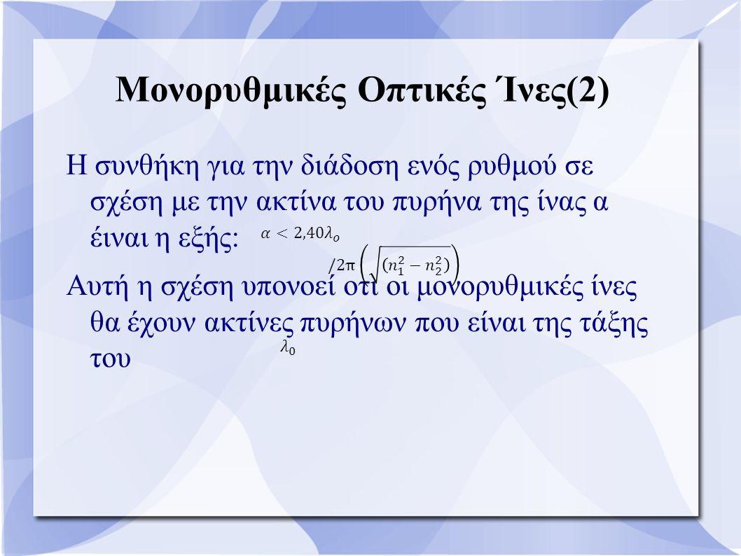 Μονορυθμικές Οπτικές Ίνες(2) Η συνθήκη για την διάδοση ενός ρυθμού σε σχέση με την ακτίνα του πυρήνα της ίνας α έιναι η εξής: Αυτή η σχέση υπονοεί οτι
